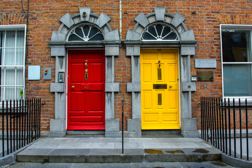 red and yellow front doorts